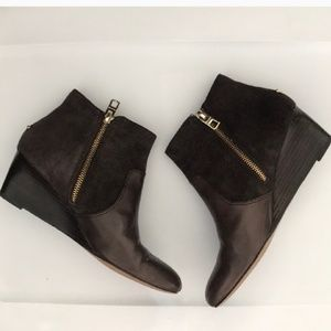Coach Mystic Brown Leather and Suede Booties